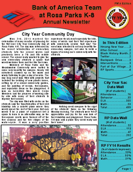 City Year Sacramento: Bank of America Team Newsletter FY14 Edition