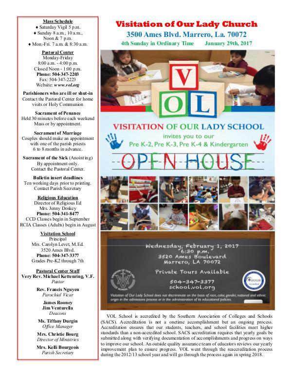 VOL Parish Weekly Bulletin January 29, 2017