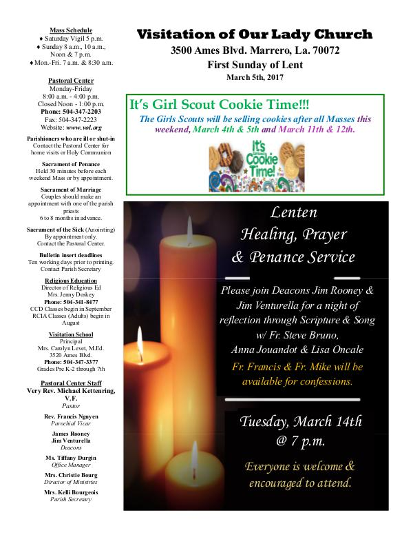VOL Parish Weekly Bulletin March 5, 2017