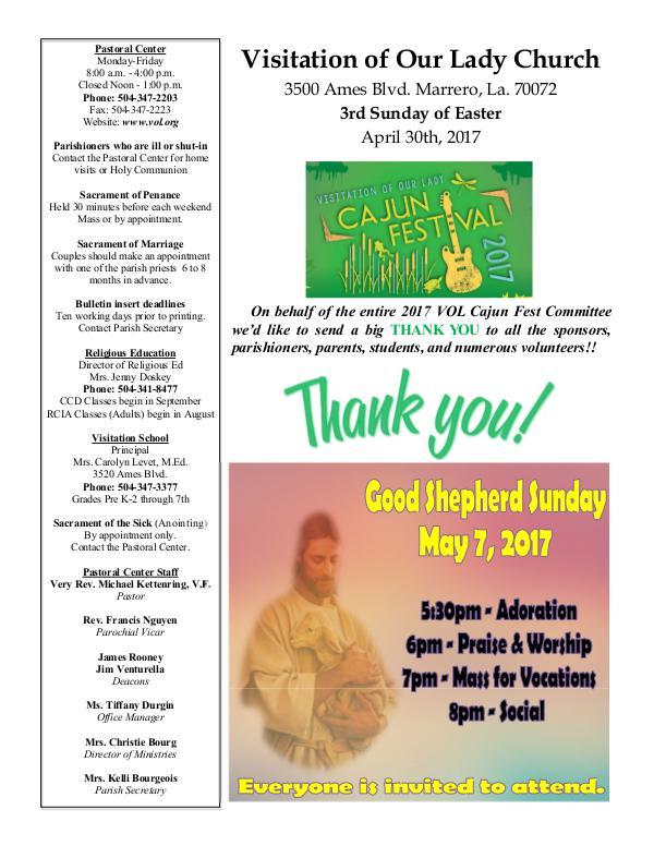 VOL Parish Weekly Bulletin April 30, 2017