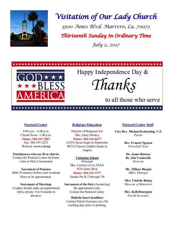 VOL Parish Weekly Bulletin July 2, 2017