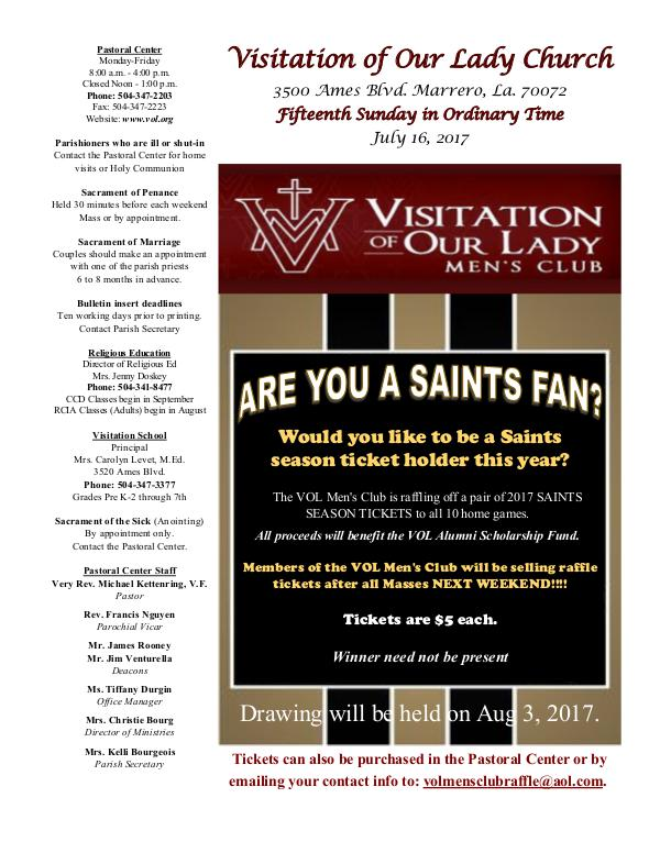 VOL Parish Weekly Bulletin July 16, 2017