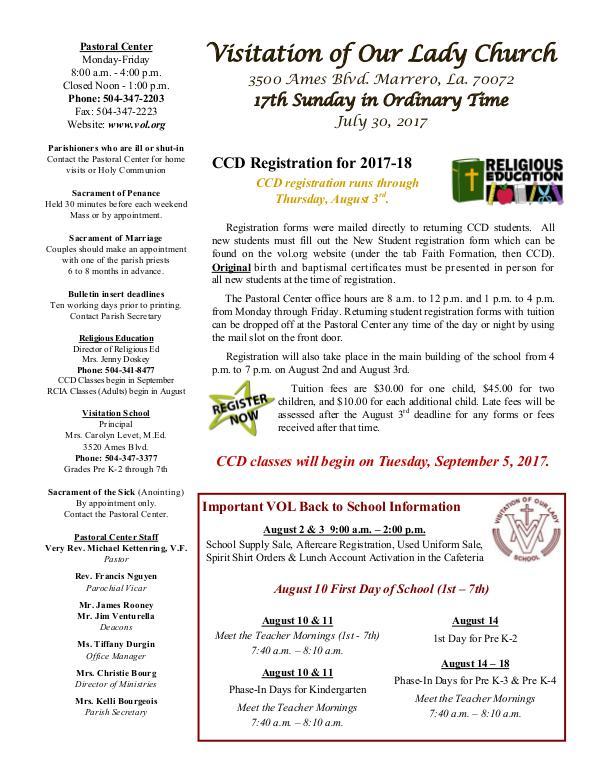 VOL Parish Weekly Bulletin July 30, 2017