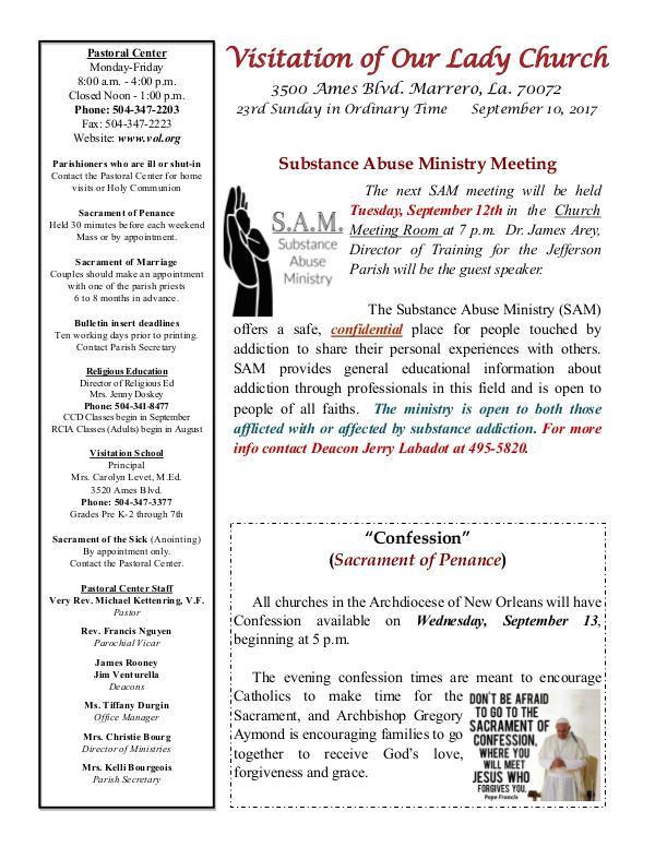 VOL Parish Weekly Bulletin September 10, 2017