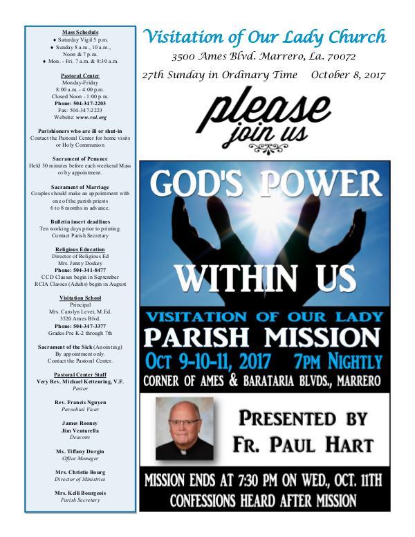 VOL Parish Weekly Bulletin October 8, 2017