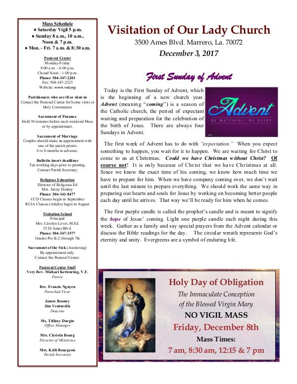 VOL Parish Weekly Bulletin December 3, 2017