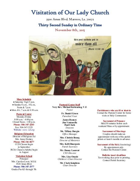 VOL Parish Weekly Bulletin November 8, 2015