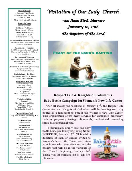 VOL Parish Weekly Bulletin January 10, 2016