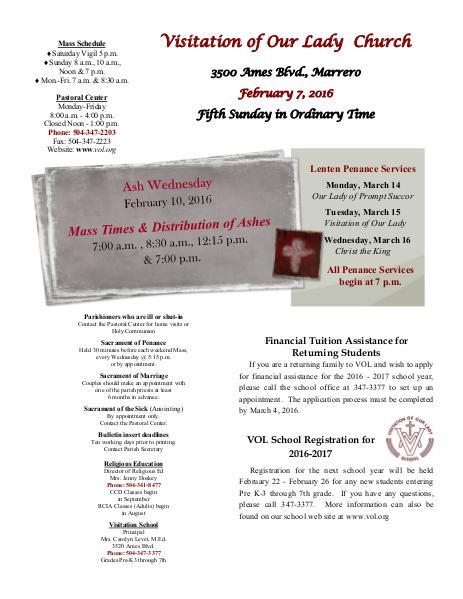 VOL Parish Weekly Bulletin February 7, 2016