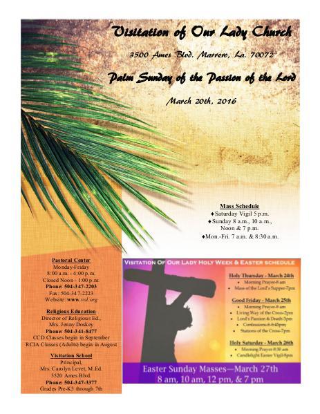 VOL Parish Weekly Bulletin March 20, 2016