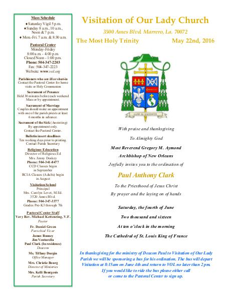 VOL Parish Weekly Bulletin May 22, 2016