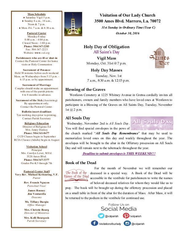 VOL Parish Weekly Bulletin October 30, 2016