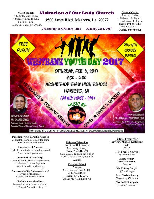 VOL Parish Weekly Bulletin January 22, 2017