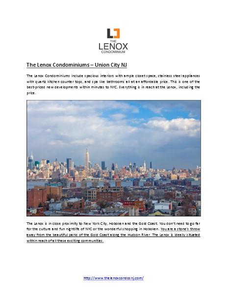 The Lenox Condominiums – Union City NJ June 2014