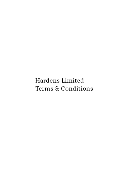 Hardens Terms and Conditions Booklet