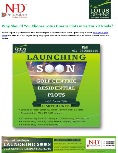Why Should You Choose Lotus Greens Plots in Sector 79 Noida? Golf Centric View