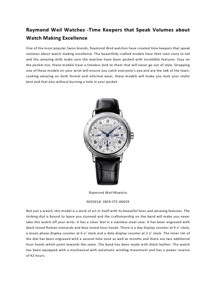 Raymond Weil Watches -Time Keepers that Speak Volumes about Watch Making Excellence Vol 1