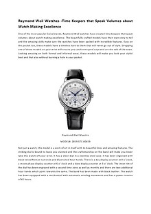 Raymond Weil Watches -Time Keepers that Speak Volumes about Watch Making Excellence