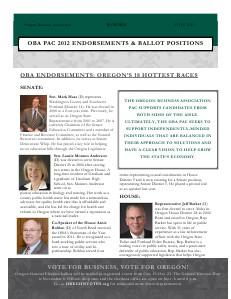 OBA PAC Endorsements October 19, 2012 Election Edition
