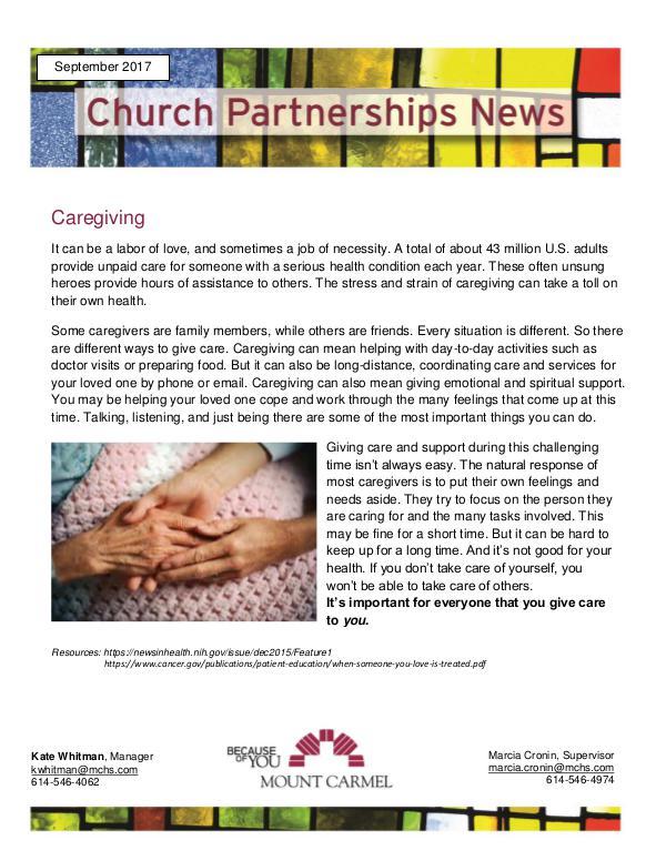 Church Partnership Newsletter September 2017