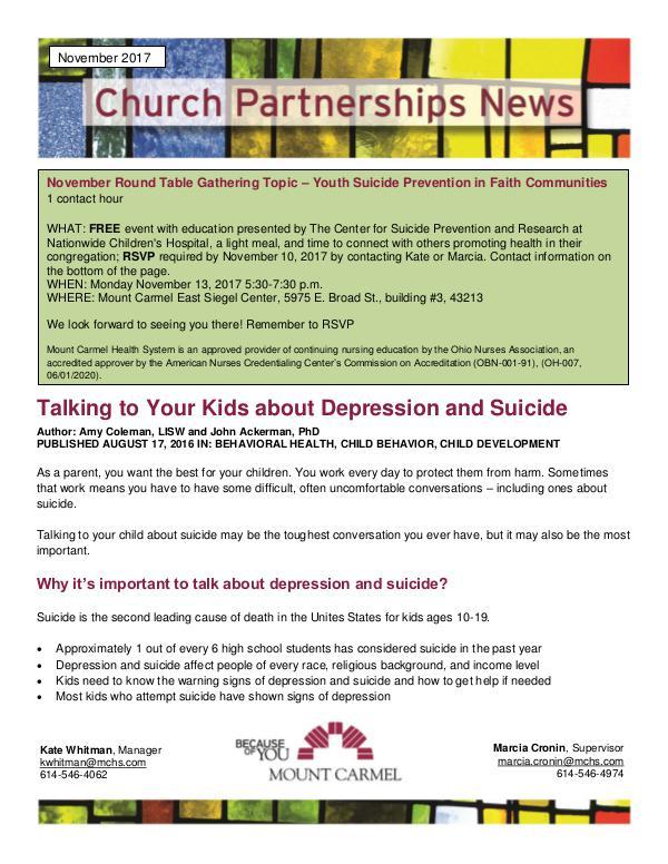 Church Partnership Newsletter November 2017