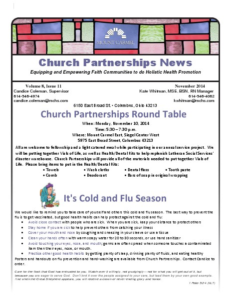 Church Partnership Newsletter November 2014