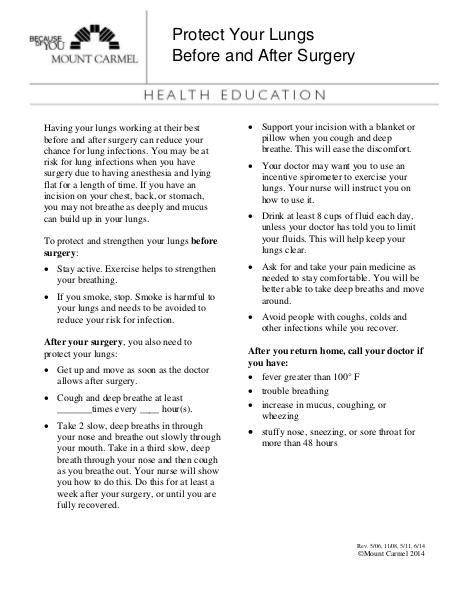 Patient Education Protect Your Lungs Before & After Surgery