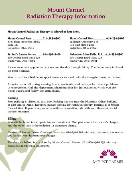 Patient Education Radiation Therapy Information Sheet