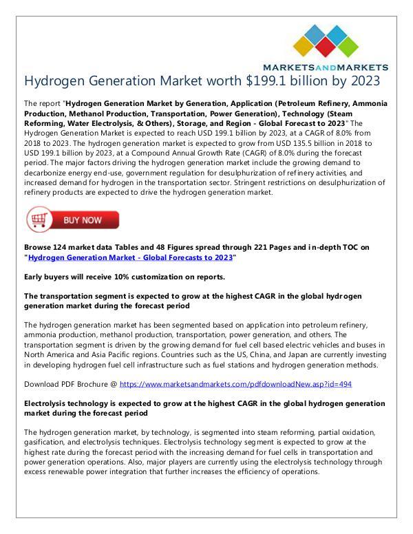 Hydrogen Generation Market worth $199 1 billion by 2023