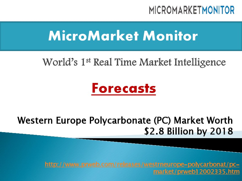 Western Europe Polycarbonate (PC) Market Worth $2.8 Billion by 2018 2014