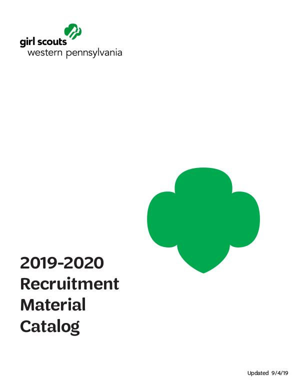 GSWPA Recruitment Materials Catalog 2019-20 GS Year