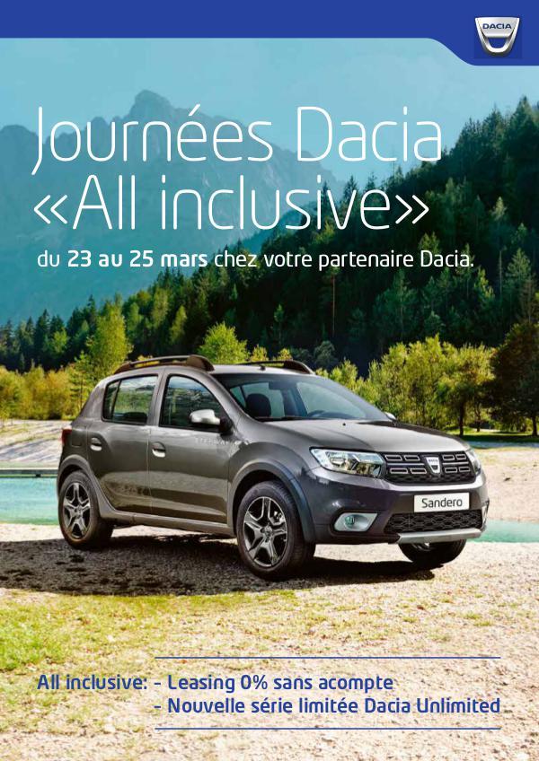 Journées Dacia «All inclusive» Du 23 au 25 mars chez votre partenaire Dacia.