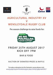 Charity Rugby Match Programme 2017
