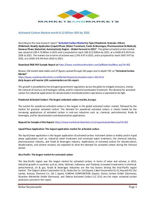 Activated Carbon Market - 2019 Activated Carbon Market - 2019