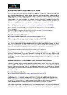 Maleic Anhydride Market worth 5.08 Billion USD by 2020 Maleic Anhydride Market worth 5.08 Billion USD by 2020