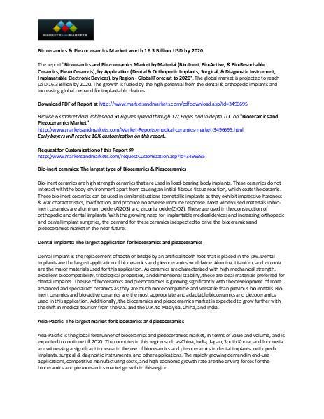 Bioceramics & Piezoceramics Market worth 16.3 Billion USD by 2020 Bioceramics & Piezoceramics Market worth 16.3 Bill