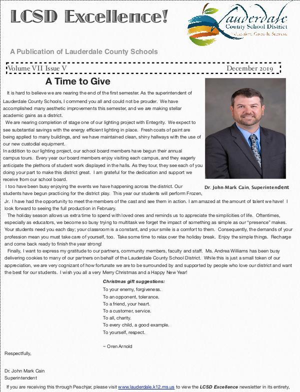 LCSD Excellence December 2019 LCSD Excellence December Newsletter