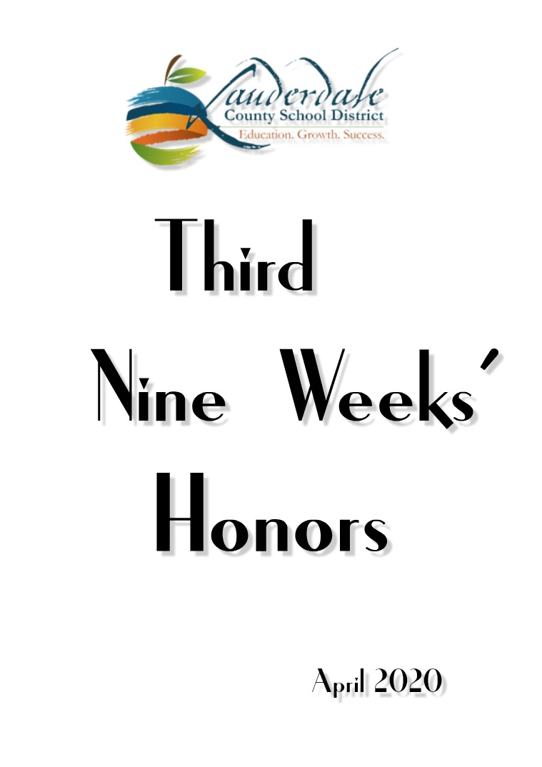 LCSD Third Nine Weeks' Honors 2020 Volume II