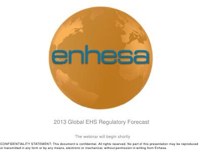 Global EHS Regulatory Forecast