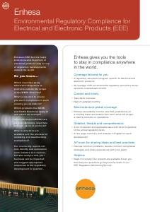 Compliance with Enhesa - Electrical & Electronic Products (EEE) Monitoring