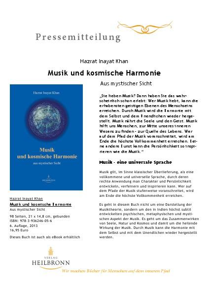 Verlag Heilbronn - Pressemitteilungen Musik und kosmische Harmonie (Pressemitteilung)