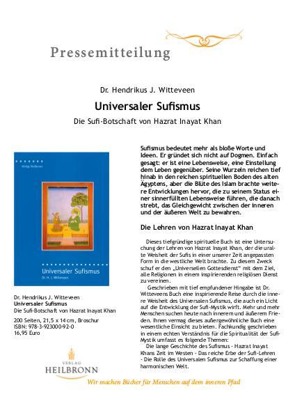 Universaler Sufismus (Pressemitteilung)
