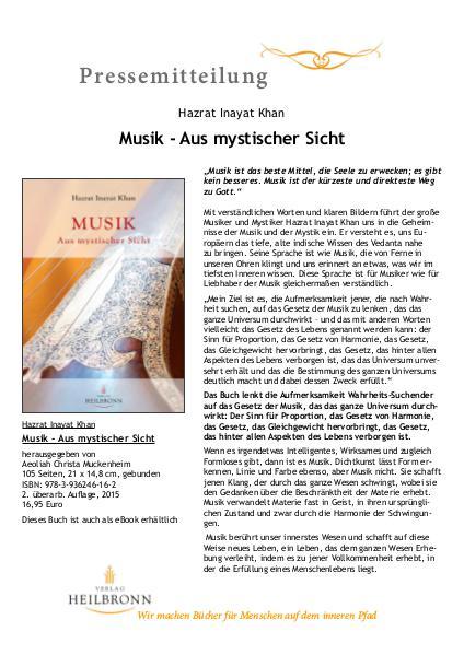 Musik - Aus mystischer Sicht von Hazrat I. Khan
