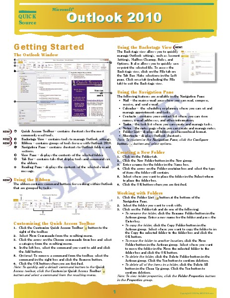 Quick Source Learning Guides Outlook 2010 Quick Source Guide