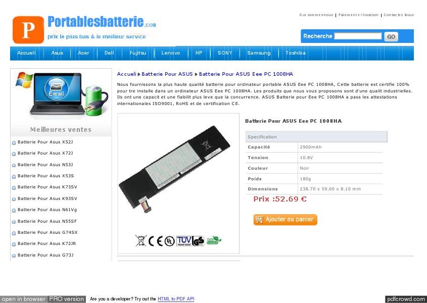 Batterie Pour ASUS Eee PC 1008HA Batterie Pour ASUS Eee PC 1008HA