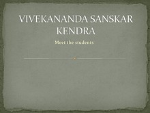 Vivekananda School - Meet the students