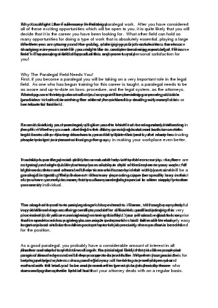 Considering Specialized Fields Of Law As A Paralegal.pdf Aug. 2014