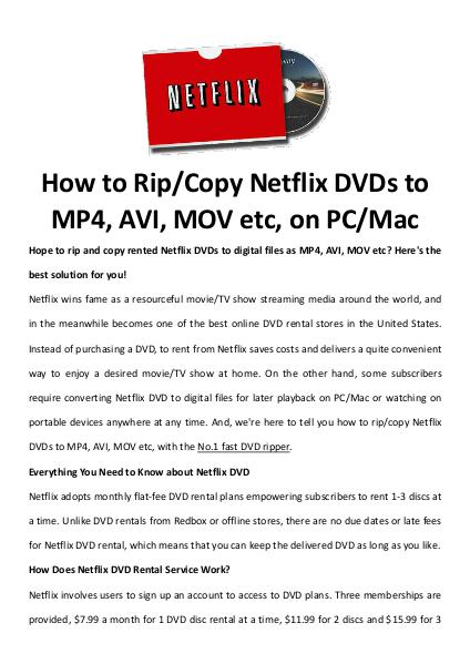 Multimedia Software rip Netflix DVDs