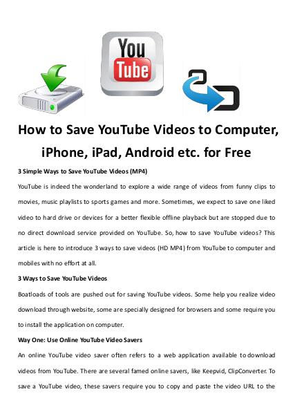 Multimedia Software Save YouTube Videos