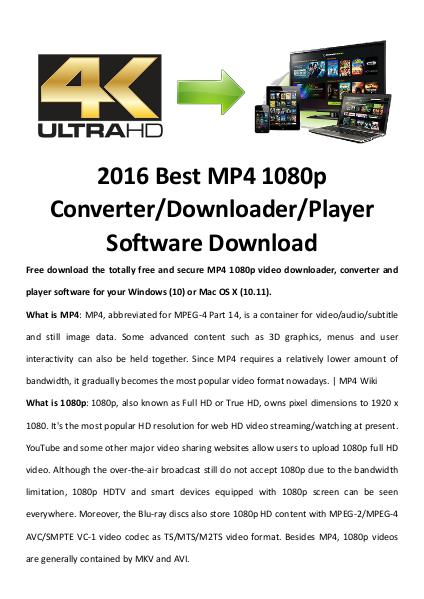 Multimedia Software MP4 1080p Video